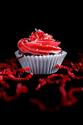 Cupcake Photography Prints - Cupcake with Red Icing Print by Cindy Singleton