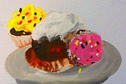 Home Plate Paintings - Cupcakes by Marisela Mungia