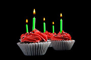 Frosting Prints - Cupcakes with Candles Print by Cindy Singleton