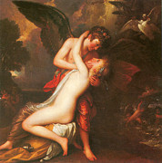Love And Romance Framed Prints - Cupid and Psyche Framed Print by Benjamin West