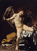 Caravaggio Painting Metal Prints - Cupid as Victor Metal Print by Caravaggio