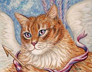 Angel Paintings - Cupid Kitty by Linda Mears