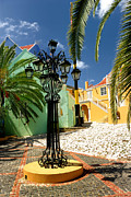 Cobblestone Framed Prints - Curacao Colorful Architecture Framed Print by Amy Cicconi