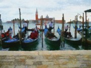 Gondola Digital Art Prints - Curbside Parking Print by Jeff Kolker