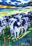 Therese Fowler-bailey Prints - Curiosity Cows Original Sold PRINTS Available Print by Therese Fowler-Bailey