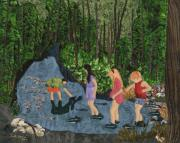 River Tapestries - Textiles Prints - Curious and Cautious Print by Anita Jacques