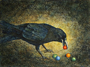 Raven Paintings - Curious Corvus I by Sandra Tweed