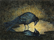 Raven Paintings - Curious Corvus II by Sandra Tweed