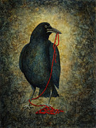Raven Paintings - Curious Corvus IV by Sandra Tweed