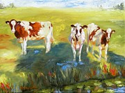 Chris Brandley Paintings - Curious Cows by Chris Brandley