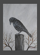 Crows Paintings - Curious Crow by Christine StPierre