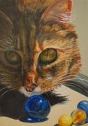 Marble Eyes Paintings - Curious by Karen Ilari