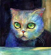 Cute Mixed Media Metal Prints - Curious Kitten watercolor painting  Metal Print by Svetlana Novikova