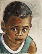 African American Paintings - Curious Little Boy by Xueling Zou