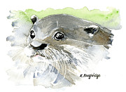 Otter Paintings - Curious Otter by Karen  Loughridge KLArt