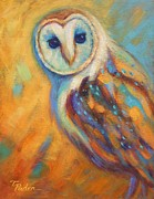 Colorful Owl Paintings - Curious Owl by Theresa Paden