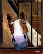 White Farm Posters - Curious Paint Horse Poster by Dottie Dracos