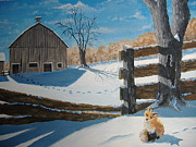 Shed Painting Posters - Curious Winter Visitor Poster by Norm Starks