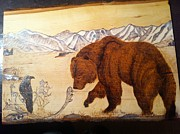 Bear Pyrography Originals - Curiousity by Keli Deets