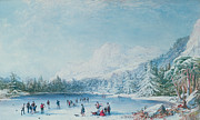 Mountain Snow Landscape Paintings - Curling by Bernard Walter Evans