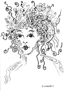 Bad Art Drawings Prints - Curly Girl Print by Regina Valluzzi