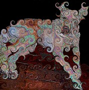Cute Dogs Digital Art - Curly Q Doggie by Annette Allman