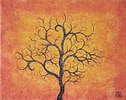 Earth Tone Painting Posters - Curly Terracotta Tree Poster by Todd Evans