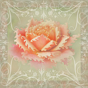 Photomanipulation Photo Prints - Curlyicue Peach Rose with flourshis   square Print by Debbie Portwood
