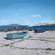 Connemara Paintings - Currachs at Eirlough Ervallagh Roundstone Connemara Co Galway Ireland by Diana Shephard