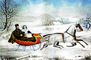 High Society Posters - Currier and Ives Otto Knirsch The Road Winter Poster by MotionAge Art and Design - Ahmet Asar