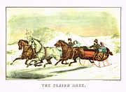 High Society Posters - Currier Ives The Sleigh Race Poster by MotionAge Art and Design - Ahmet Asar