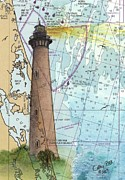 Currituck Posters - Currituck Beach Lighthouse NC Nautical Chart Map Art Peek Poster by Cathy Peek