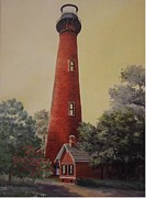 Brick Paintings - Currituck Lighthouse by Wanda Dansereau
