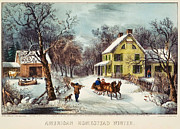 High Society Posters - curriver ives American homestead winter Poster by MotionAge Art and Design - Ahmet Asar