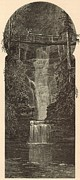 New York State Drawings - Curtain Cascade at Havana Glen by Antique Engravings