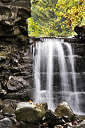 Fall Scenery Prints - Curtain Mist Waterfall Print by Christina Rollo