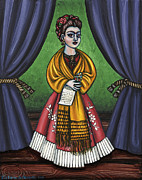 Folk  Paintings - Curtains for Frida by Victoria De Almeida