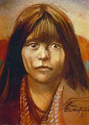 Indian Pastels Prints - Curtis Indian Girl Print by Kean Butterfield