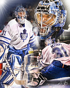 Hockey Digital Art Posters - Curtis Joseph Collage Poster by Mike Oulton