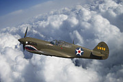 Army Air Corps Posters - Curtiss P-40 Warhawk Flying Tigers Poster by Adam Romanowicz