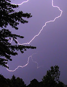 Skies Art - Curved Lightning by Deborah Smolinske