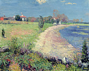 Oil Paint Posters - Curving Beach Poster by William James Glackens