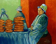 Abuela Posters - Cusco Bread Vendor Poster by EricA Art