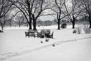 Park Benches Digital Art Posters - Cushing Park Winter 2013 Poster by John Hoey
