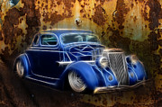 White Walls Framed Prints - Custom 36 ford Rust Framed Print by Steve McKinzie