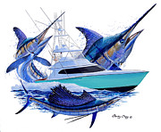 Striped Marlin Paintings - Custom Boat Shootout by Carey Chen