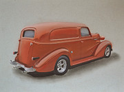 Chevrolet Truck Drawings - Custom Delivery Truck by Paul Kuras