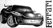 Featured Drawings - Custom Ferrari by DeShawn Willis