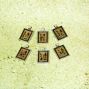 Custom I Love You Egyptian Papyrus Hieroglyphic Necklace Print by Pet Serrano