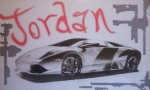 Flag Day Drawings Posters - Custom Name with Lamborghini Poster by G Marie